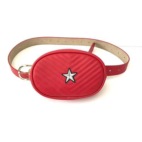 Red + Silver Star Monte Carlo Belt Bag by Haute Shore