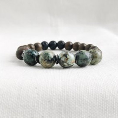 African Turquoise Essential Oil Diffuser Bracelet by Essential Adornment