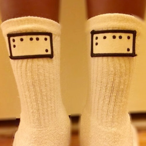"""Back"" Braille Patch Ankle Socks by Braille Code"