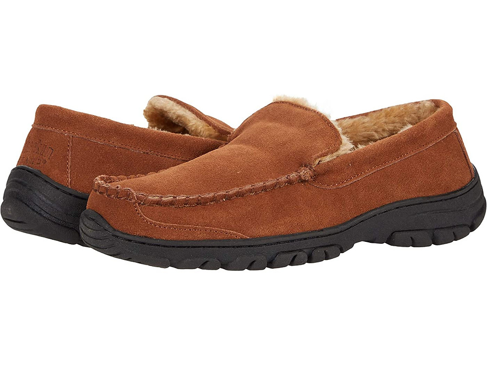 Tan moccasins with leather sole. No ties.
