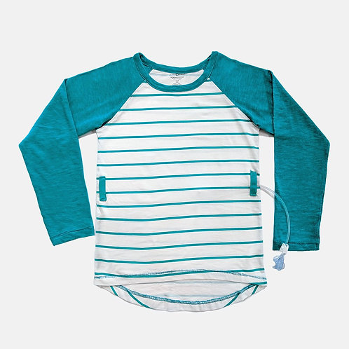 Tube + Cath Access Baseball Tee - Turquoise Stripe by Abilitee Adaptive