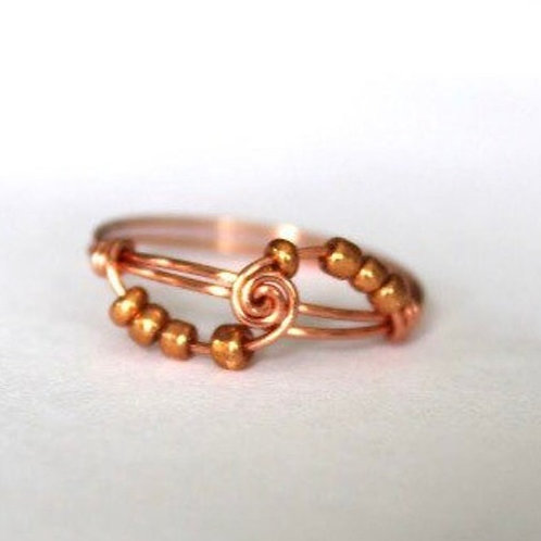 Copper Spiral Fidget Ring by Aiden and Audrey