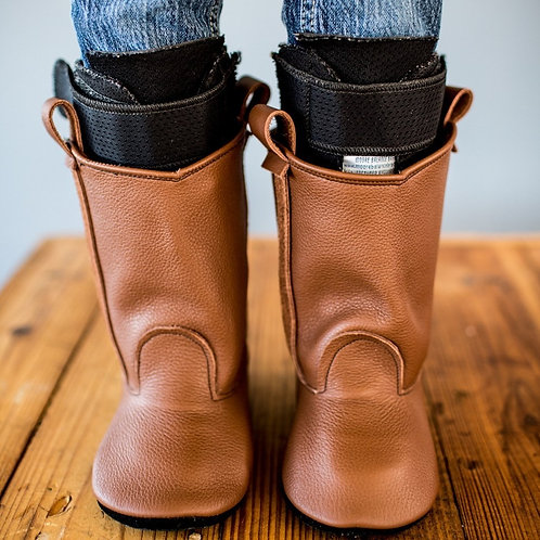 Hazelnut Brown Western Boots by Shoes for AFO's by Gracious May