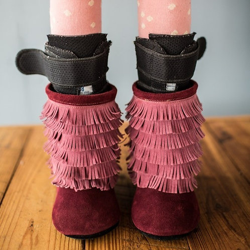 Red Velvet Fringe Boots by Shoes for AFO's by Gracious May