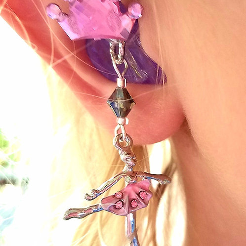 Ballerina Hearing Aid Charms + Pink Crown Tube Trinkets by Purple Cat Aid Charms