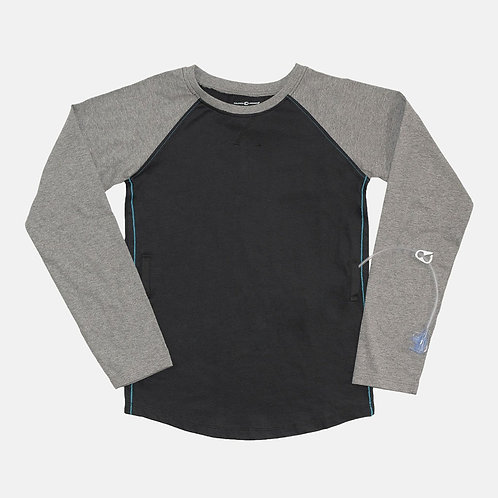 Tube + Cath Access Baseball Tee - Gray and Black by Abiltiee Adaptive