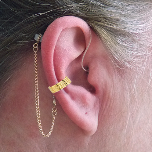 """Greek"" 14K Yellow Gold Ear Cuff (For Hearing Aids) by HearClip"