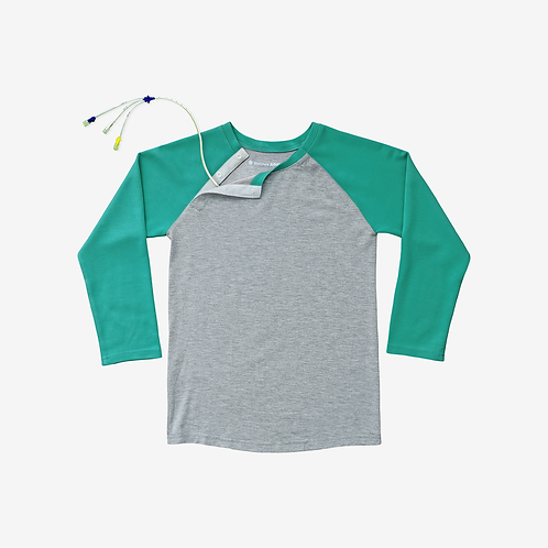 Shoulder Snap Baseball Tee - Mint by Spoonie Threads