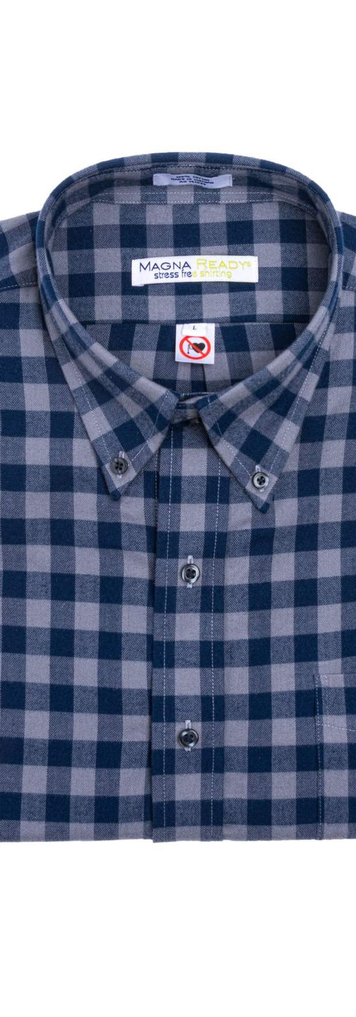 Gray and Navy Check Flannel Magnetic Closures Shirt