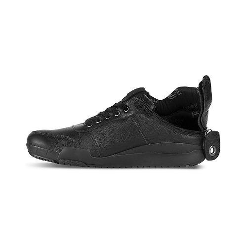 Men's Medimoto Black Leather Shoe by Friendly Shoes