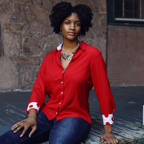 Red with Trim Velcro Closures Long Sleeve Blouse by Smart Adaptive Clothing