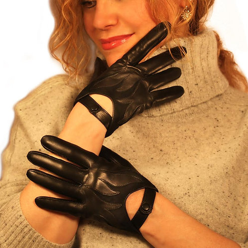 Black Flame Leather Glove Couture by ELEGANCE