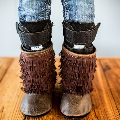 Espresso Leather Fringe Boots by Shoes for AFO's by Gracious May