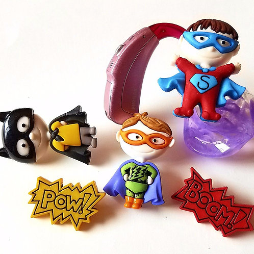 5 Superhero Tube Trinkets by Purple Cat Aid Charms