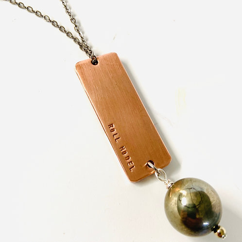 Statement Fidget Necklace with Pyrite Sphere by Lux + Luca Jewelry Co