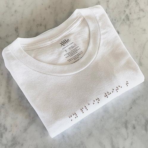 """My Plain White"" Braille Swarovski Pearls T-Shirt by Aille Design"