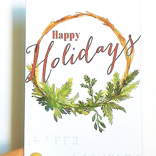 "Pack of 3 ""Happy Holidays"" Braille Cards by Inclusive Greetings"