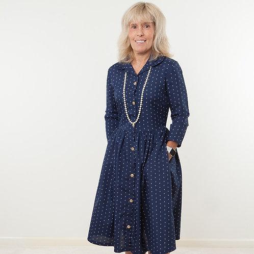 Velcro Closure Navy Print Shirtwaist Dress by Bee Yourself Apparel