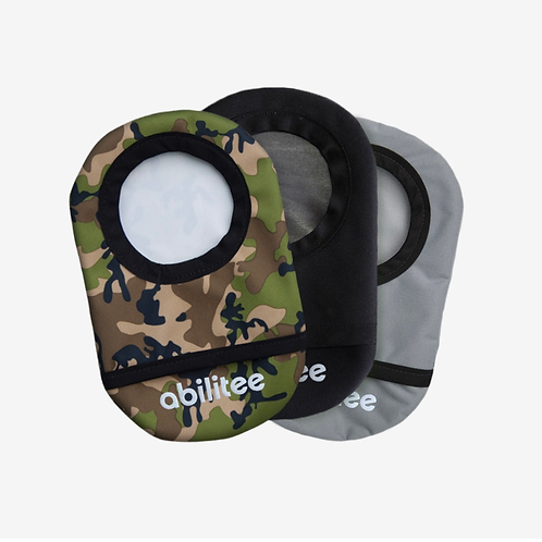 Camo + Black + Gray 3-Pack Ostomy Covers by Abilitee Adaptive Wear