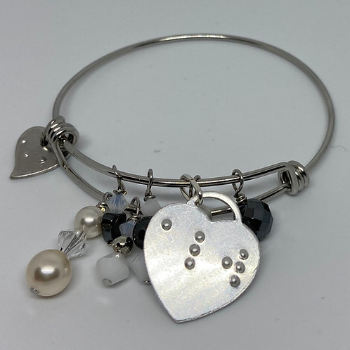 The Expandable Dangle Bangle Bracelet Braille Embossed by Elegant Insights
