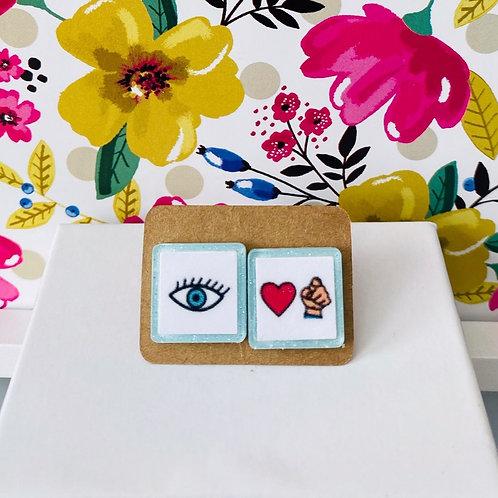 Eye + Love You Boardmaker Earrings by Marley Caroline