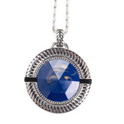 Lapis Blue Stone with Rhode Cushion Emergency Alert Pendant