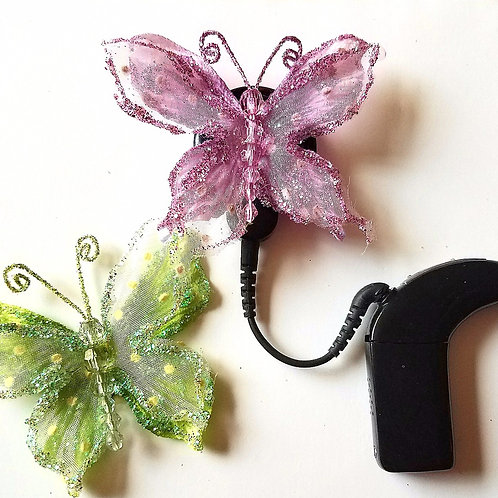 Purple and Green Butterflies Cochlear Cuties by Purple Cat Aid Charms