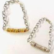 Metal Heishi and Stainless Steel Chain Fidget Bracelets
