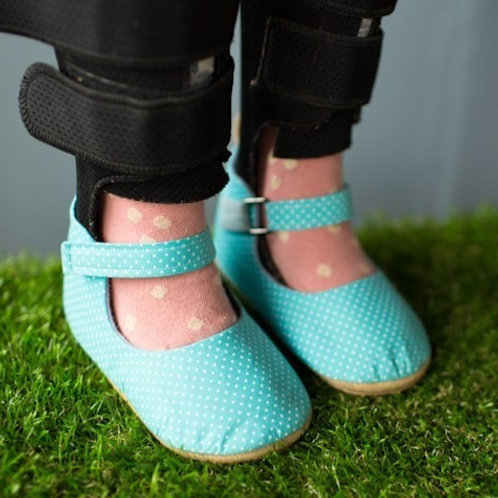 Polka Dot in Aqua Mary Jane by Shoes for AFO's by Gracious May