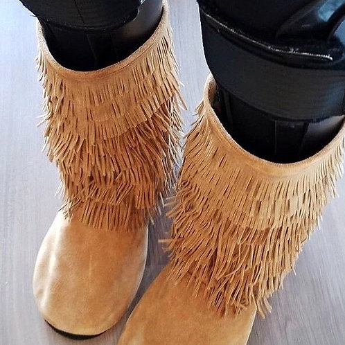 Ladies AFO Customized Moccasins Fringe Boots by Shoes for AFO's by Gracious May