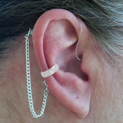"""CZ Band"" 14K White Gold Ear Cuff (For Hearing Aids) by HearClip"