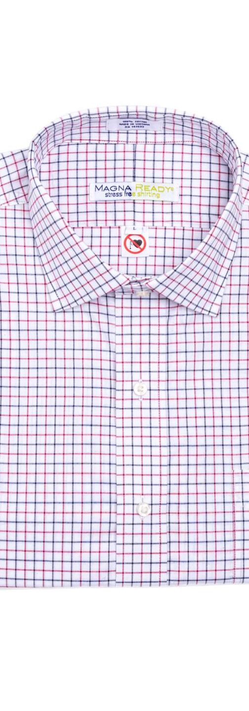 Red, Navy and White Grid Check Magnetic Closures Dress Shirt