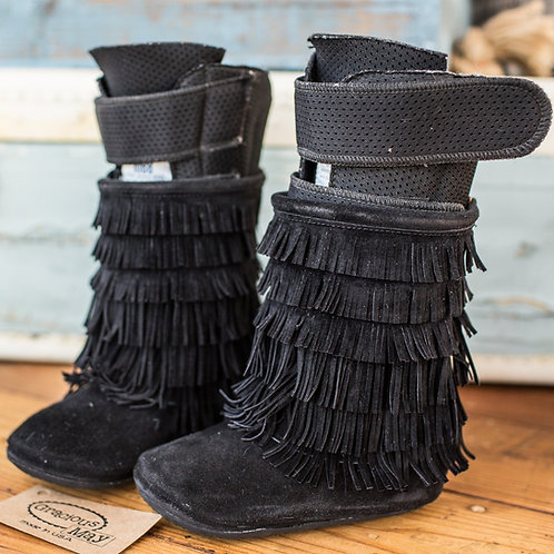 Black Suede Moccasin Boots by Shoes for AFO's by Gracious May