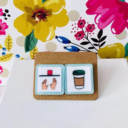 Want + Coffee Boardmaker Earrings by Marley Caroline