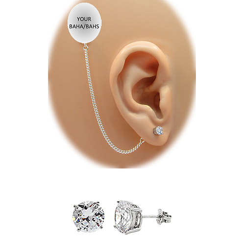 CZ Pierced Stud Earring 14K White Gold (For BAHS) by HearClip