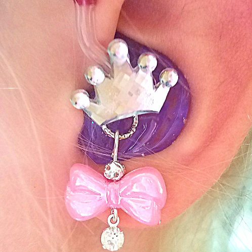 Bows Hearing Aid Charms + Silver Crown Tube Trinkets by Purple Cat Aid Charms