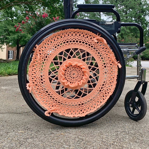 Cruisin' Coral Crocheted Wheelchair Wheel Covers by Different View Designs