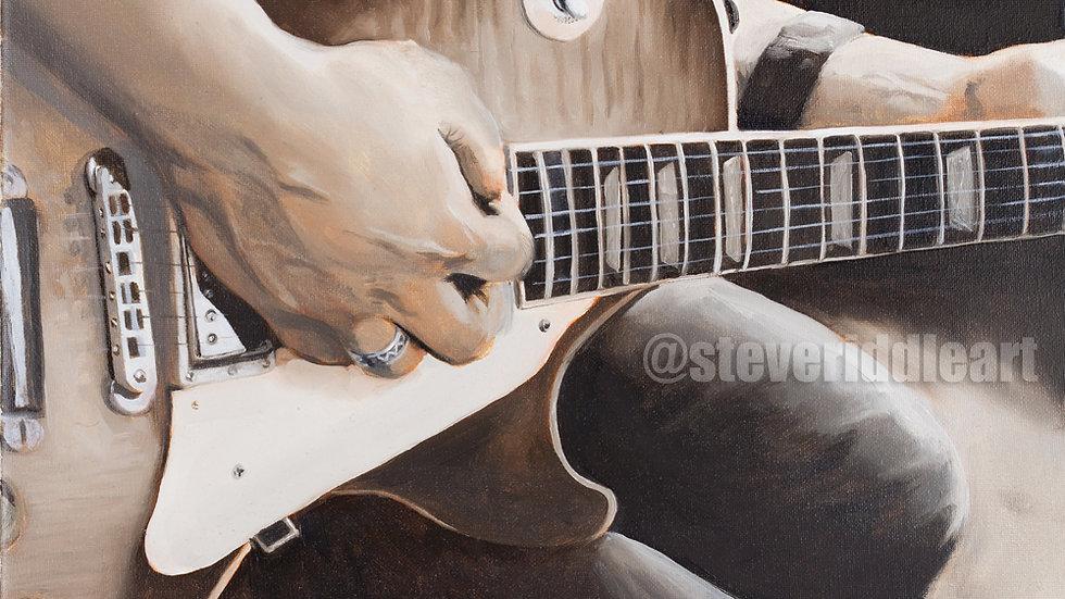 Les Paul Guitar with Sepia Colors Open Edition Giclée Fine Art Print