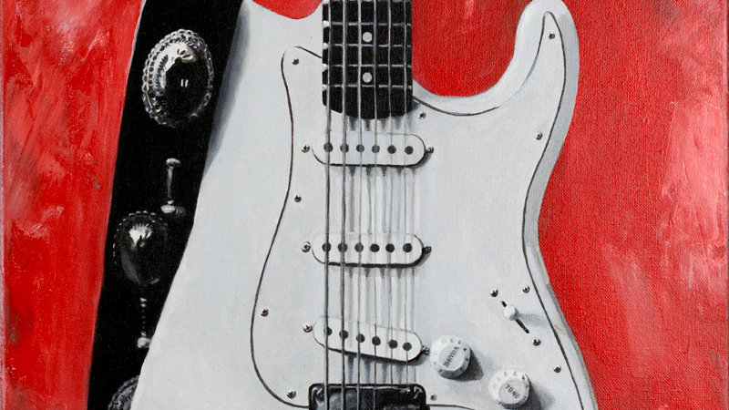 Fender Stratocaster Electric Guitar Original Fine Art Painting