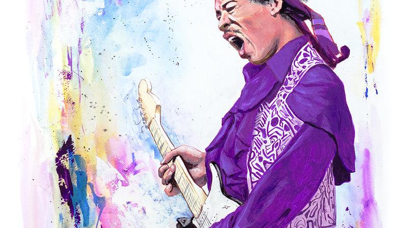 Jimi Hendrix Original Watercolor Painting