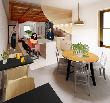 D.I.T.O Café Interior Perspective - Back Dining