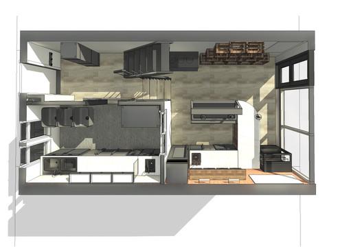JuiceBox Café - First Floor Plan Perspective