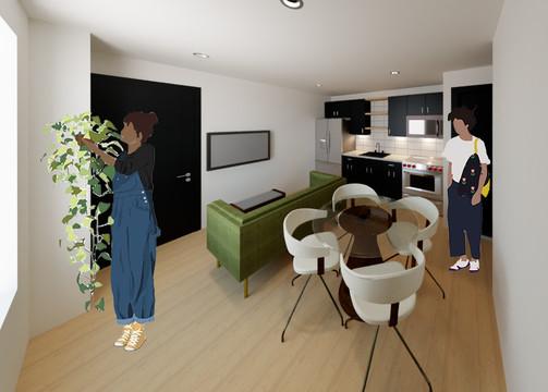 Chelten Ave Duplex - First Floor Unit Open Concept Living Room + Kitchen