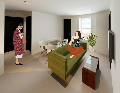 Chelten Ave Duplex - First Floor Unit Open Concept Living Room