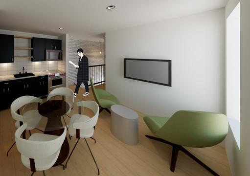 Chelten Ave Duplex - Second Floor Unit Open Concept Living Room + Kitchen