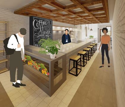 D.I.T.O Café Interior Perspective - Bar + Kitchen