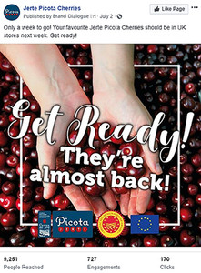 Social Media Management: Jerte Picota Cherries, 2018