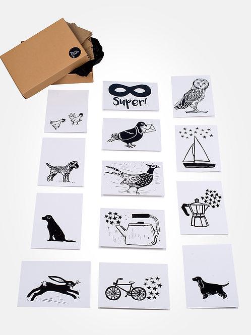Linoprint greeting card selection box