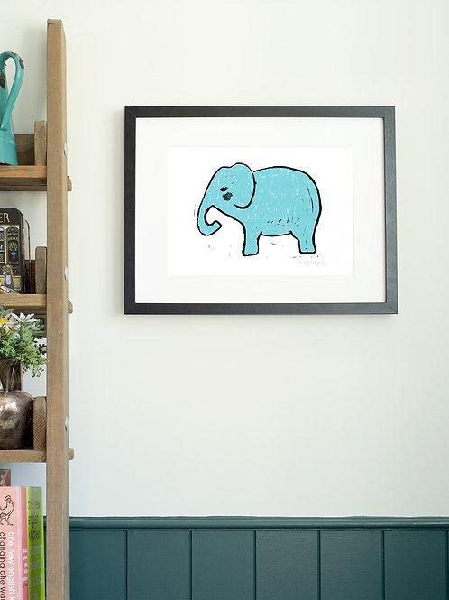 Elephant linoprint wall art