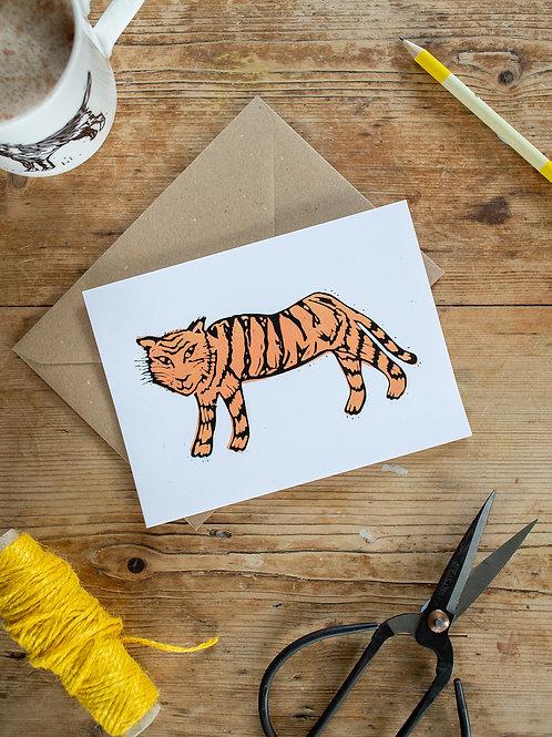 Tiger linoprint greeting card